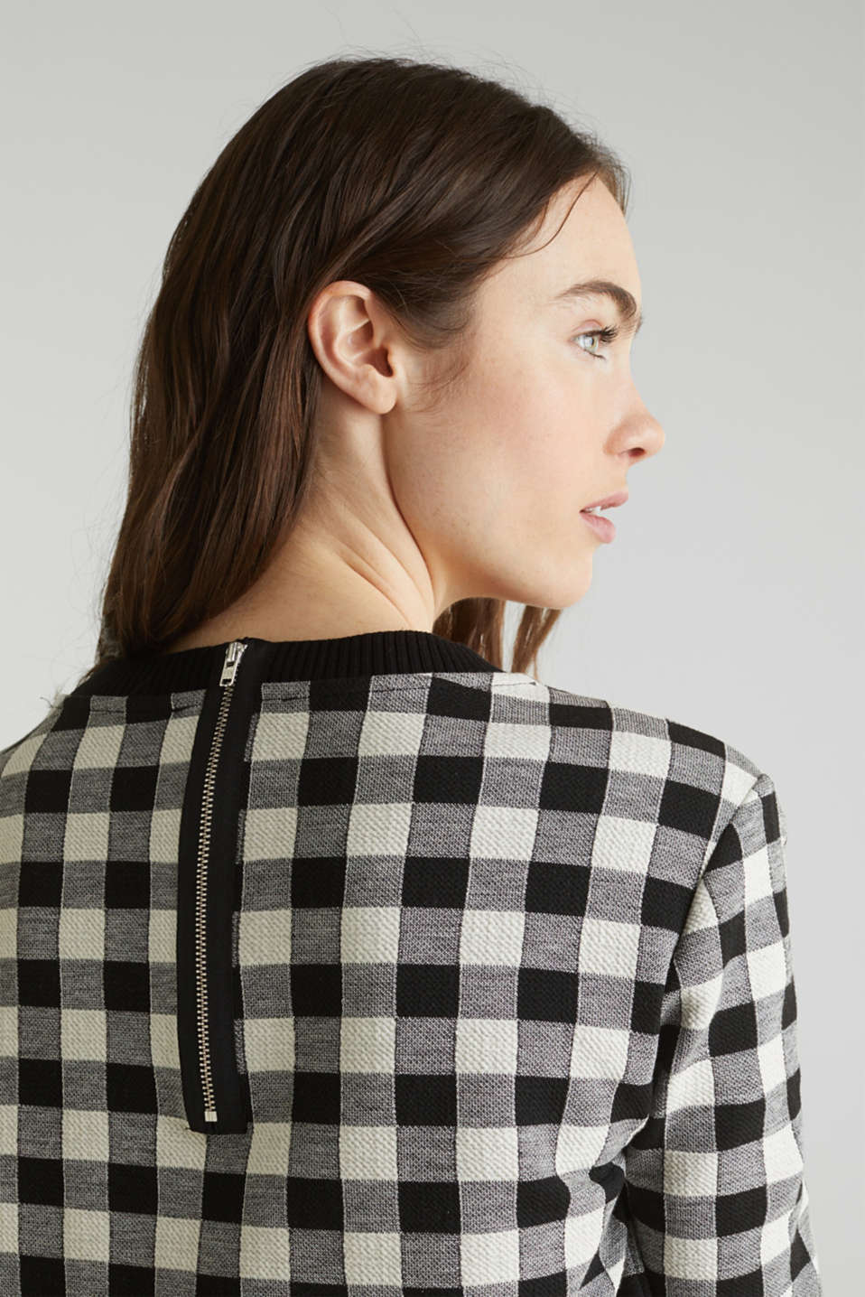 Textured top with stretch, BLACK, detail image number 4