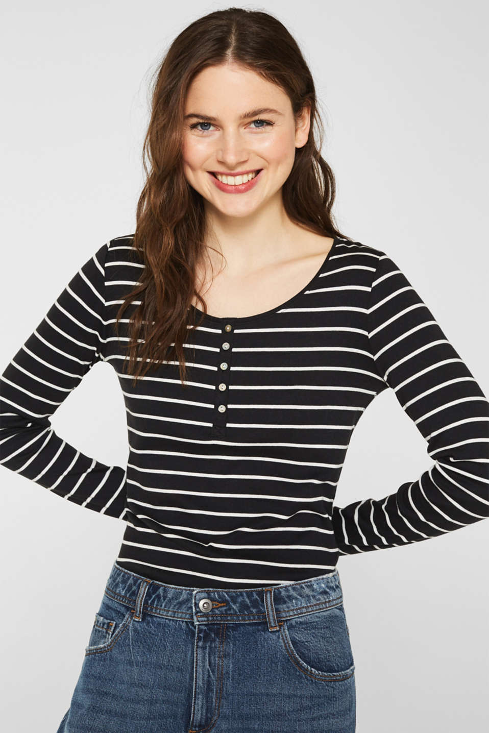 Esprit - Long sleeve top made of full needle rib