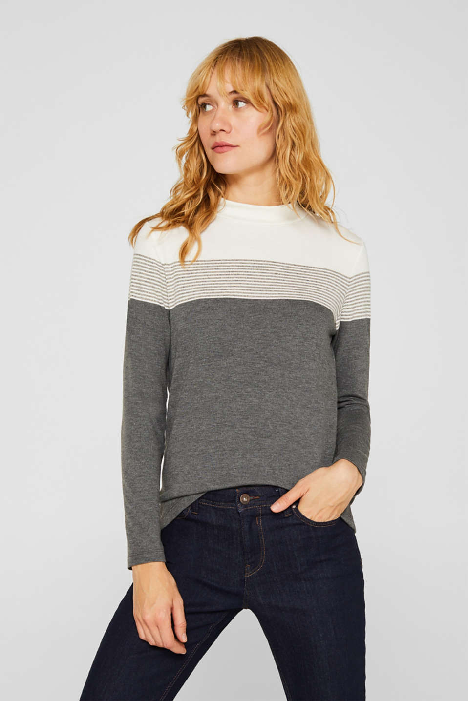 Esprit - Longsleeve met stretch en turtleneck