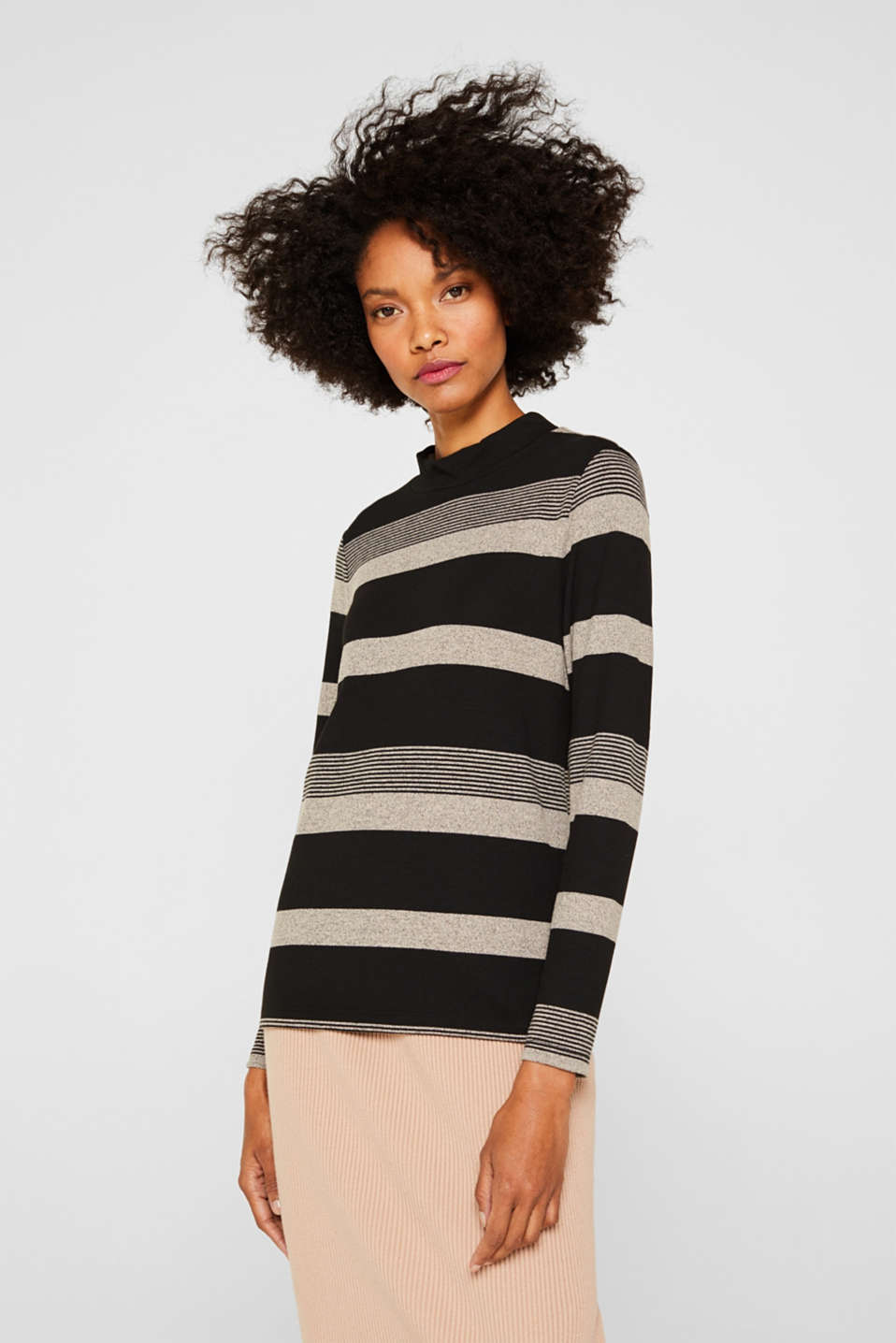 Esprit - Longsleeve met turtleneck en stretch