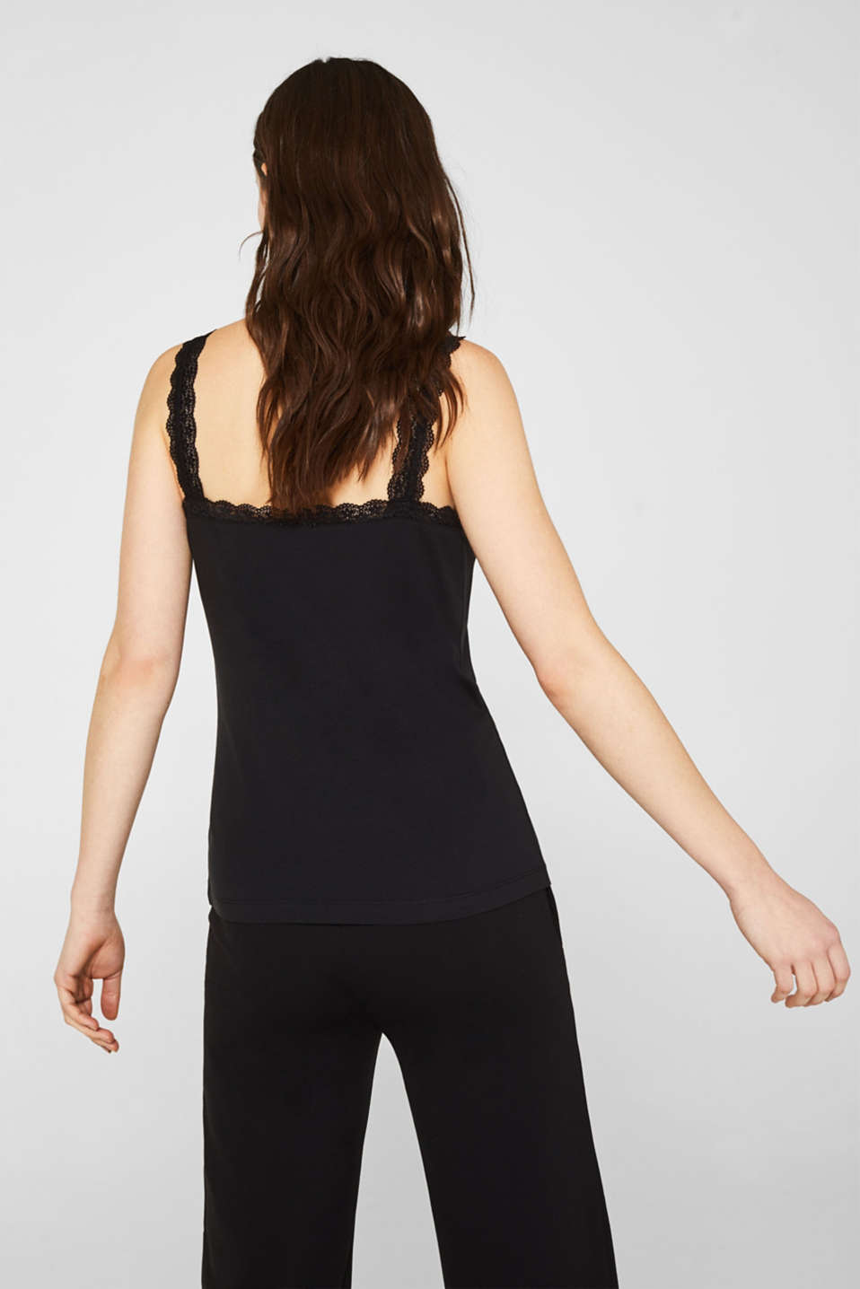 Stretch top with lace trims, BLACK, detail image number 3