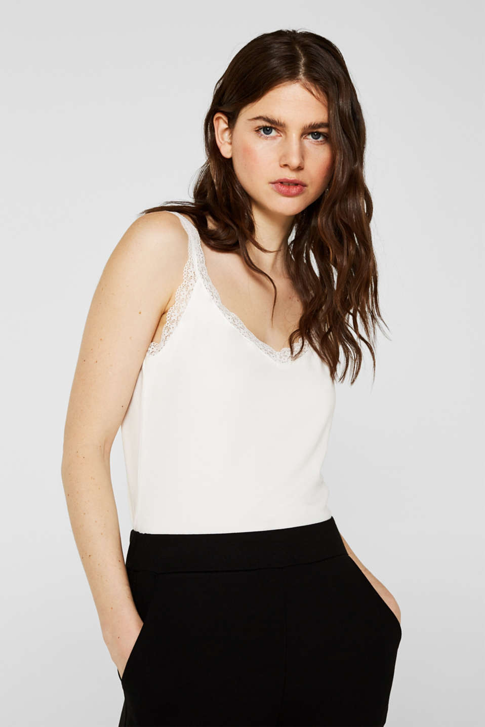 Esprit - Stretch top with lace trims