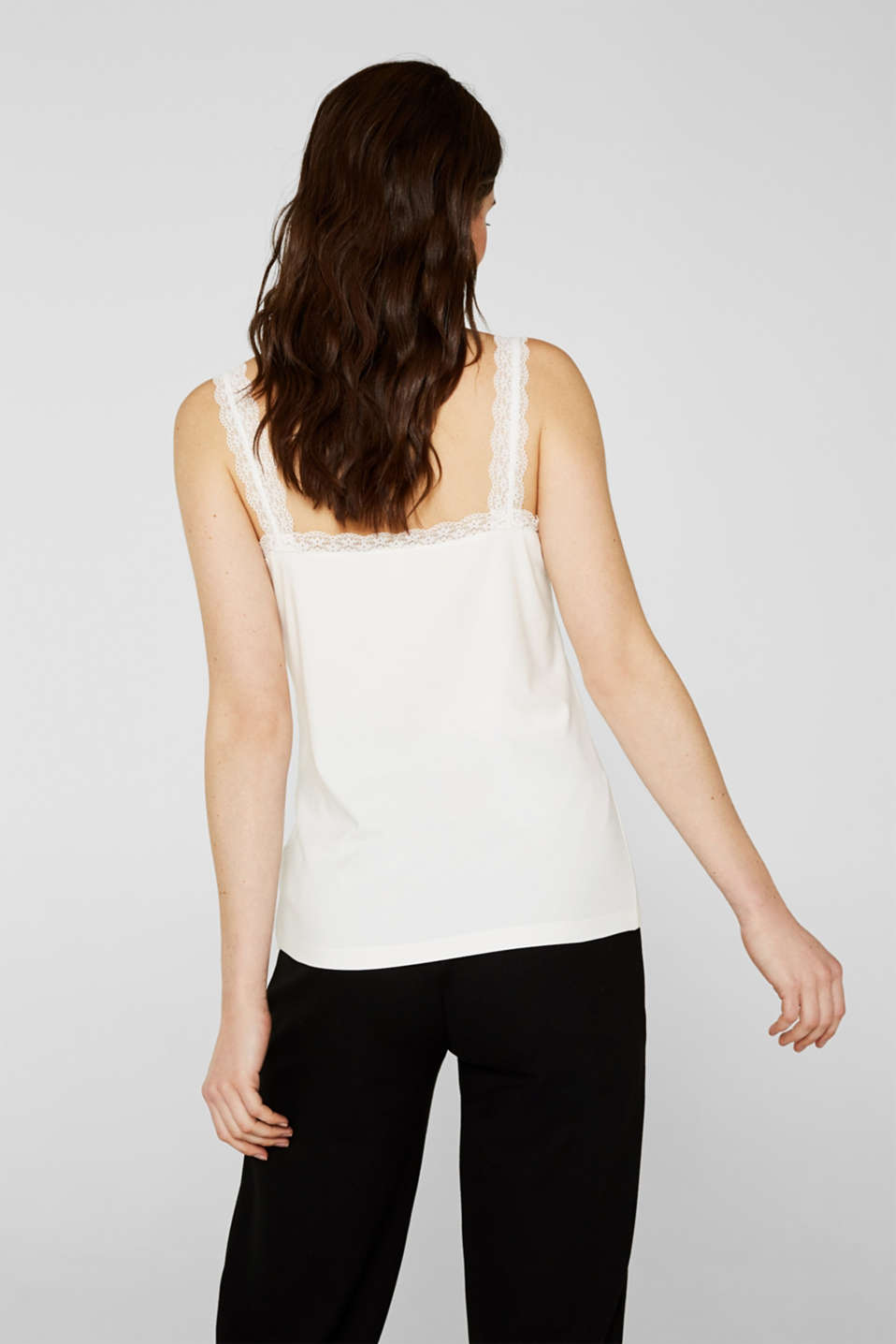 Stretch top with lace trims, OFF WHITE, detail image number 3