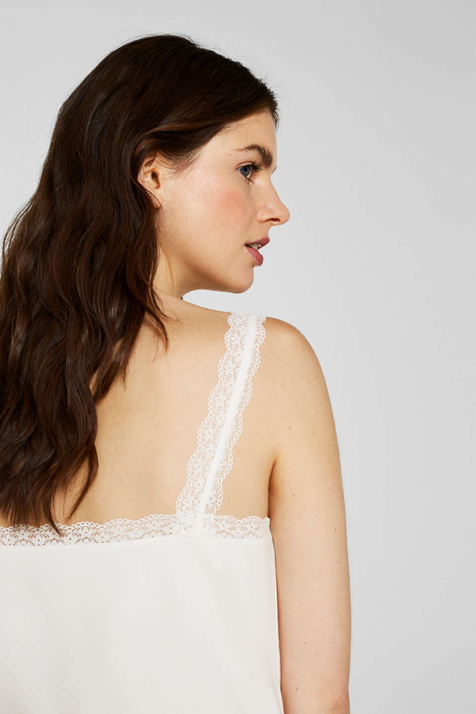 Stretch top with lace trims, OFF WHITE, detail image number 2