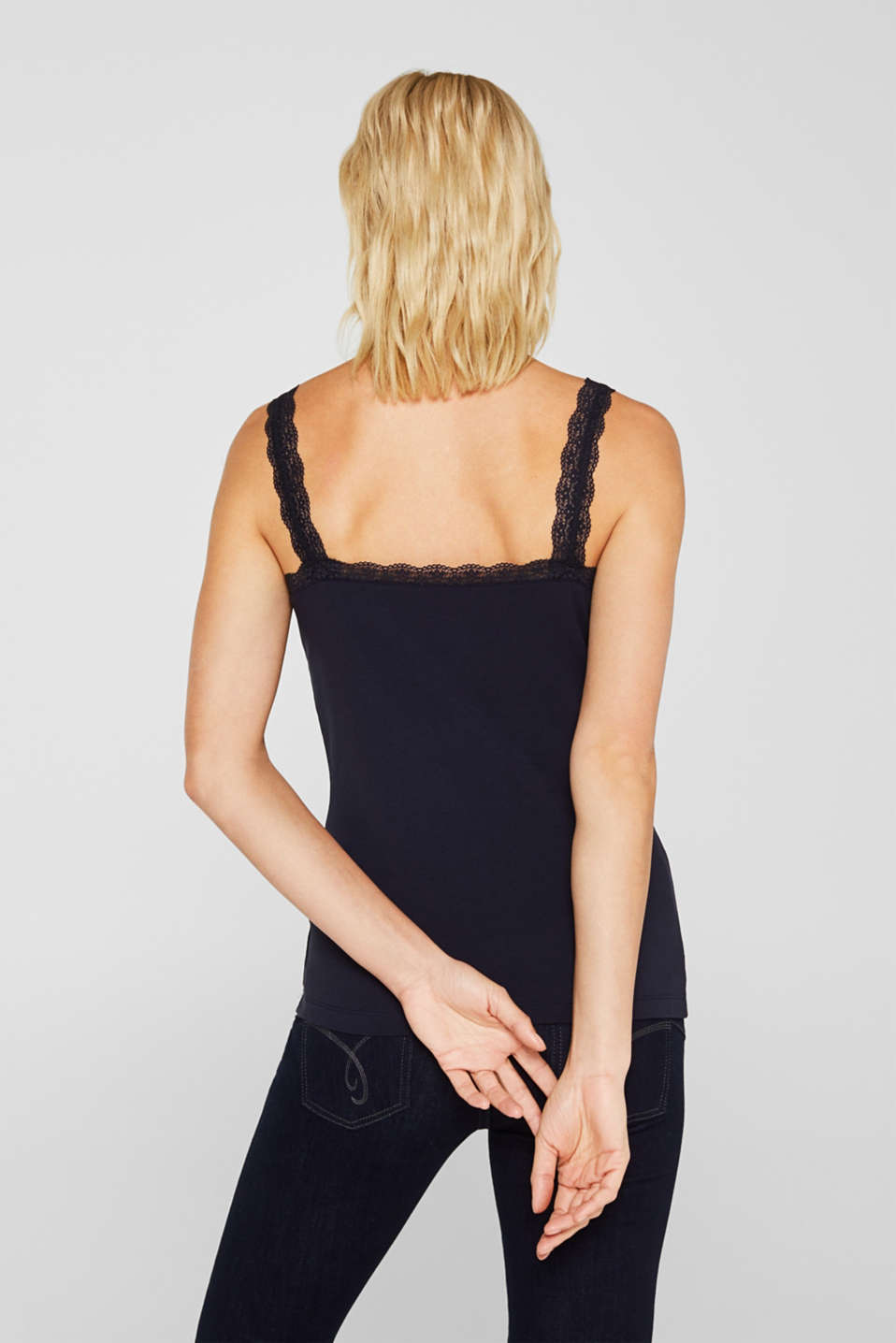 Stretch top with lace trims, NAVY, detail image number 3