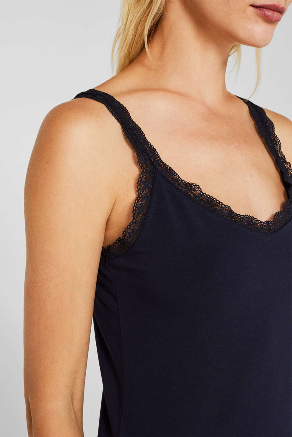 Stretch top with lace trims, NAVY, detail image number 2