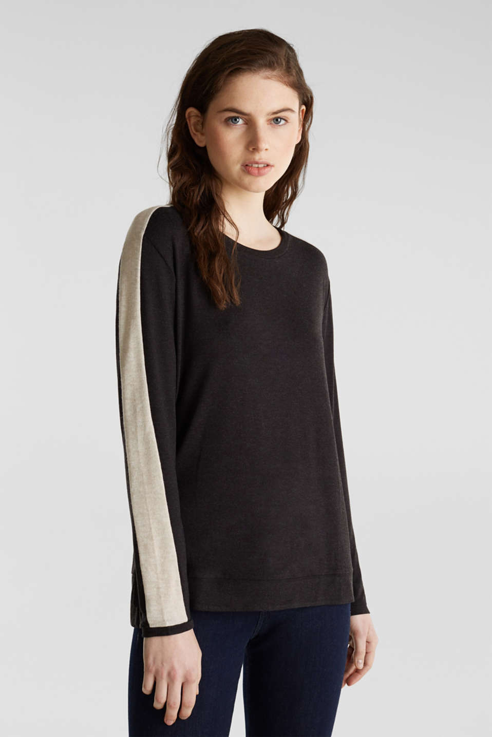 Stretch long sleeve top with knit details, BLACK, detail image number 0