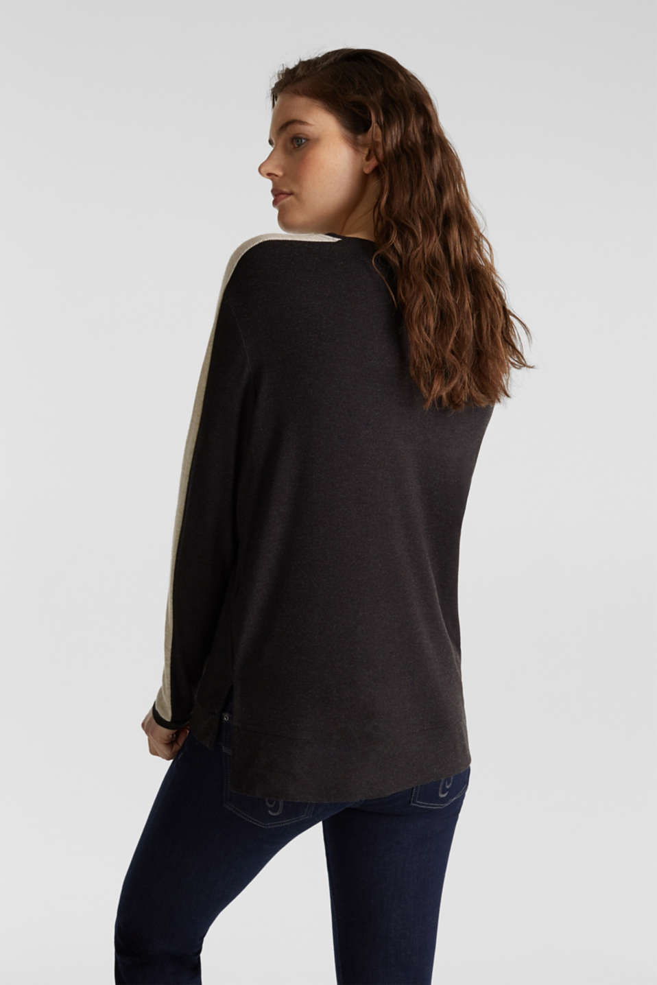 Stretch long sleeve top with knit details, BLACK, detail image number 3