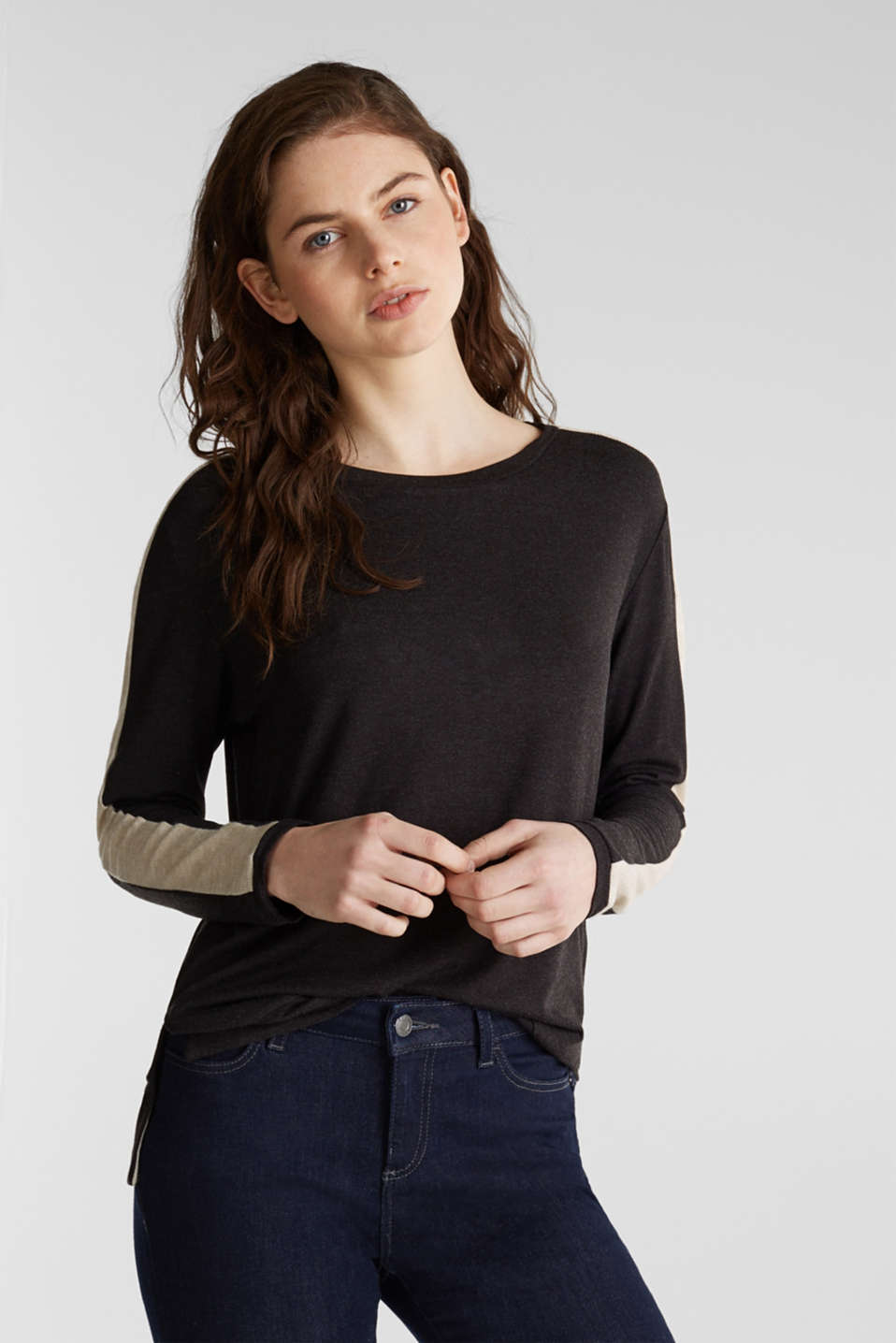 Stretch long sleeve top with knit details, BLACK, detail image number 5