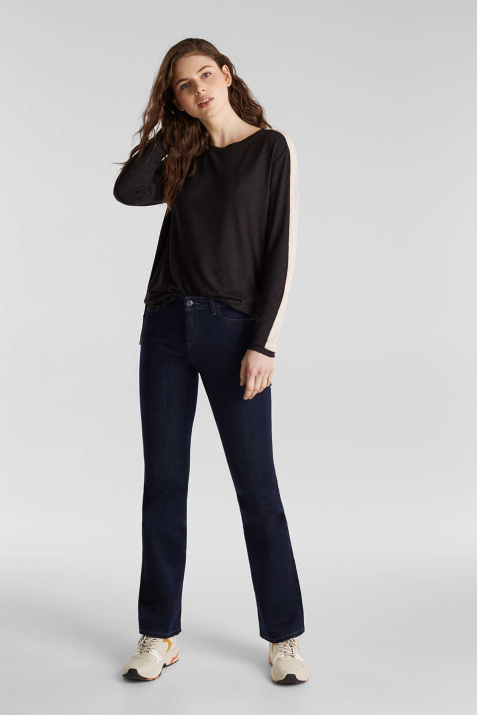 Stretch long sleeve top with knit details, BLACK, detail image number 1