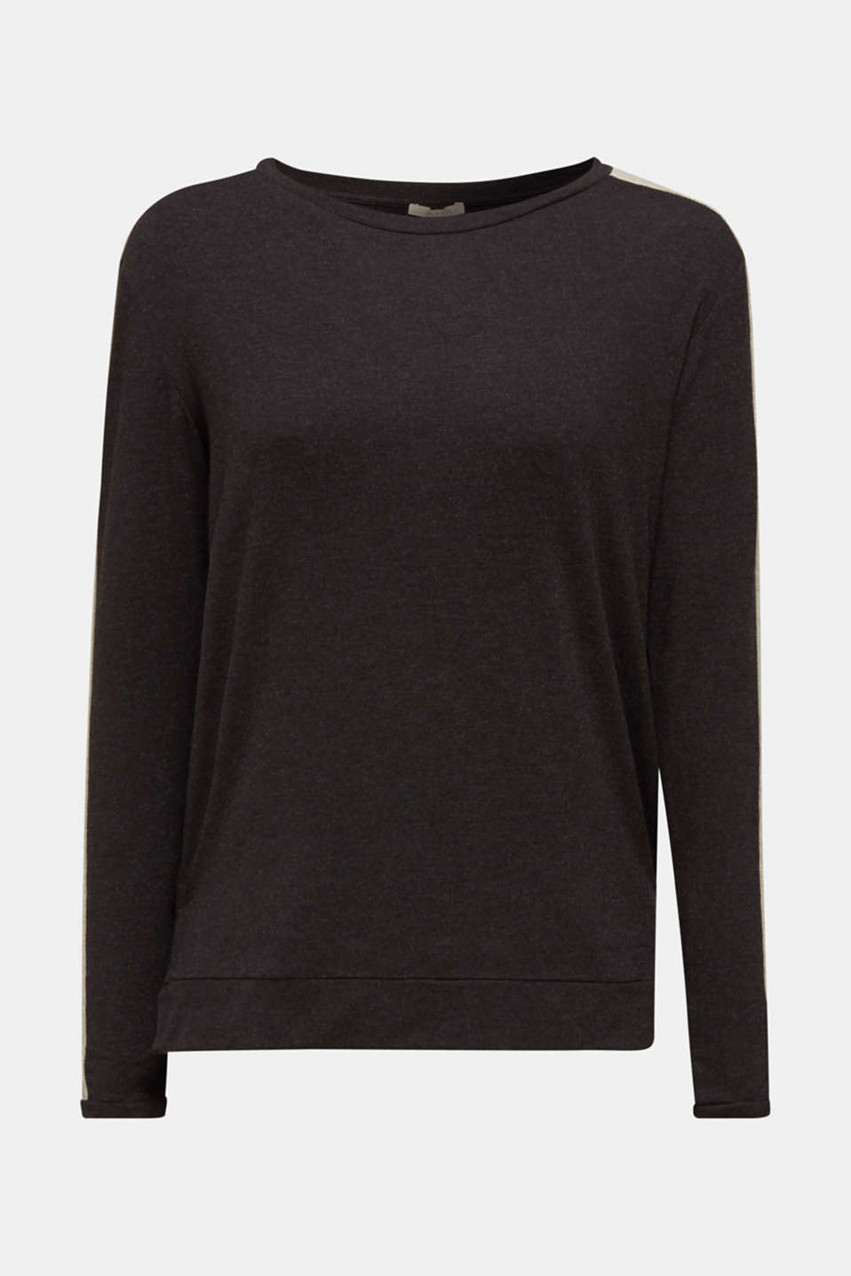 Stretch long sleeve top with knit details, BLACK, detail image number 7
