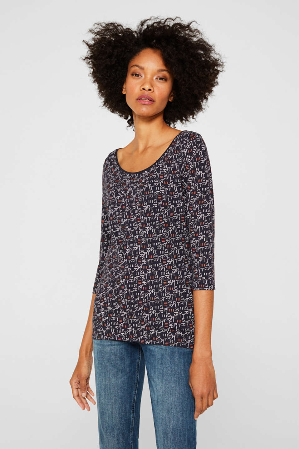 Stretch top with all-over print, NAVY 2, detail image number 0