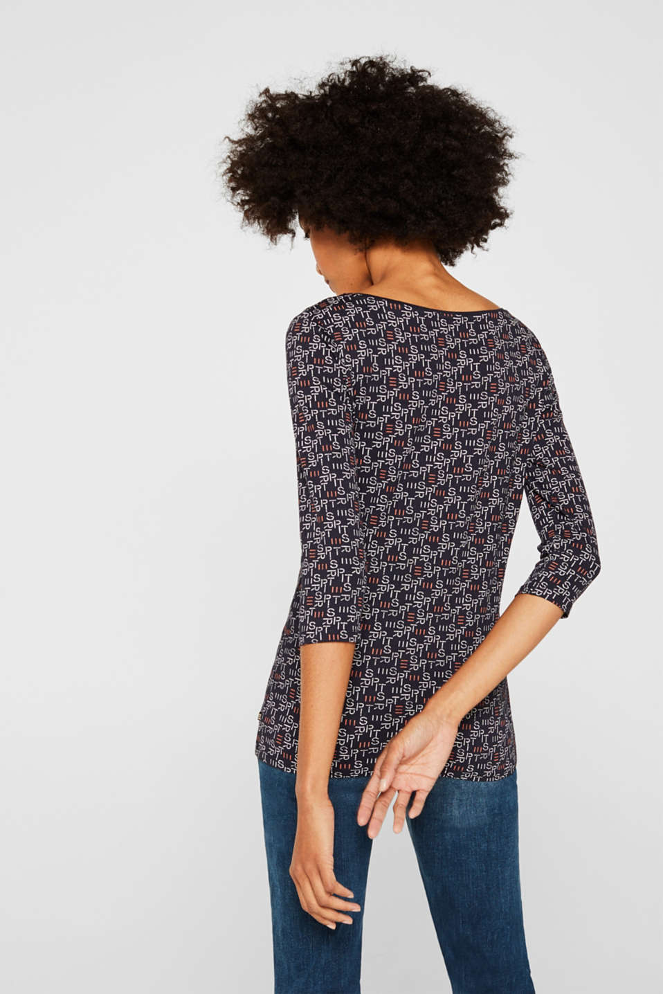 Stretch top with all-over print, NAVY 2, detail image number 3