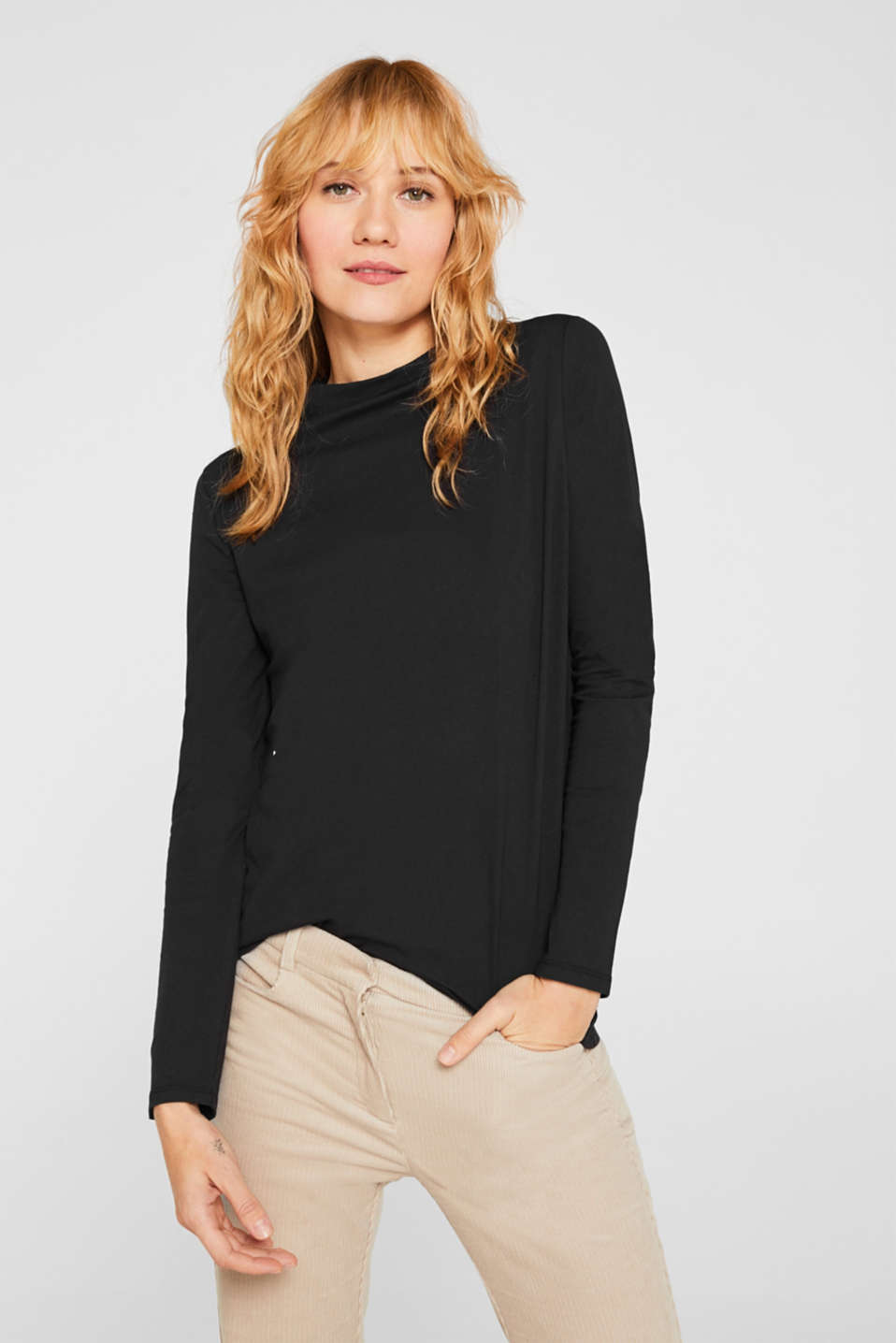Long sleeve top with a stand-up collar, 100% cotton, BLACK, detail image number 0