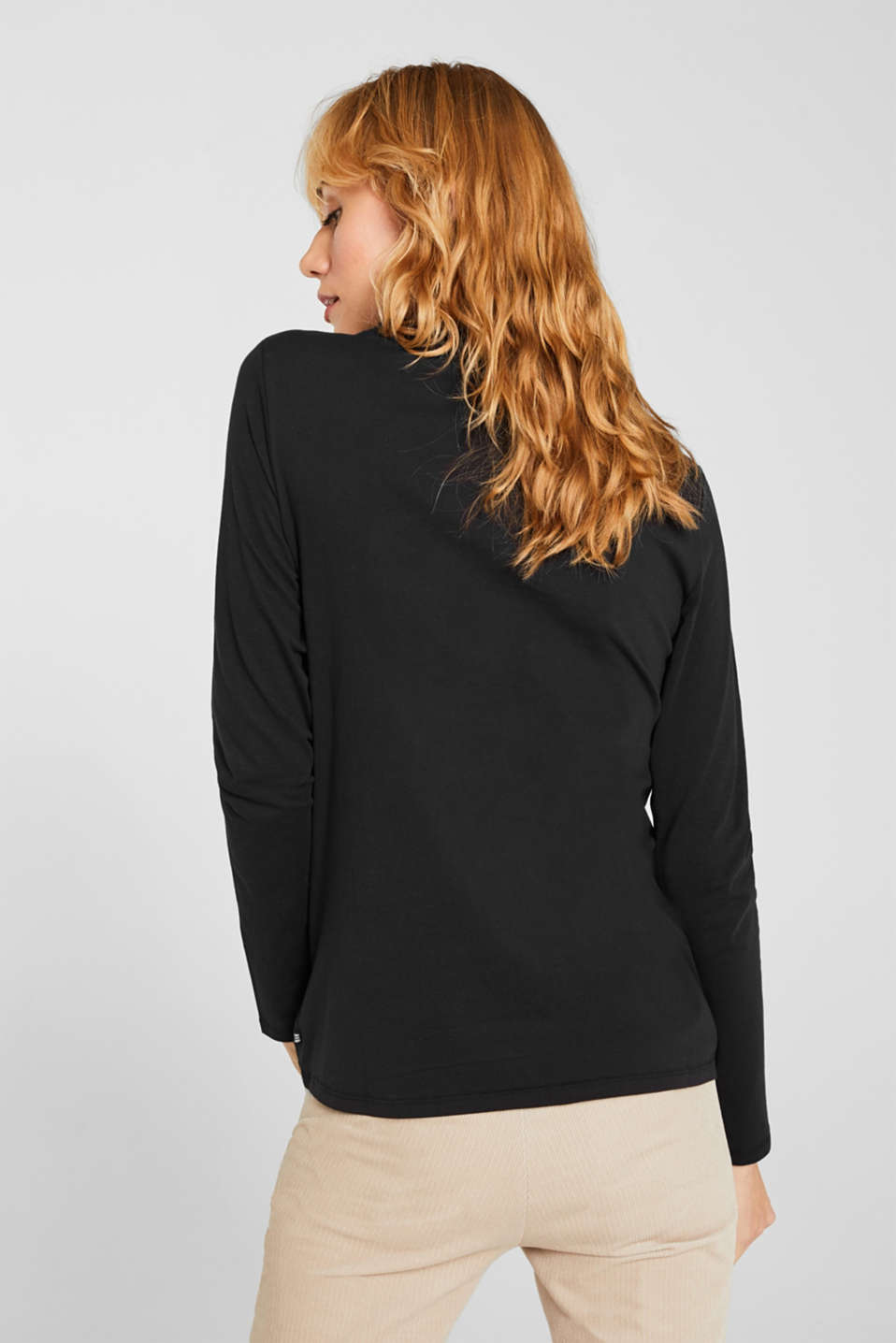 Long sleeve top with a stand-up collar, 100% cotton, BLACK, detail image number 3