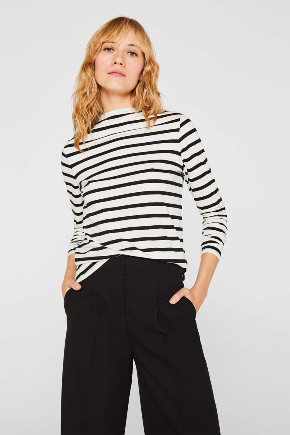 Long sleeve top with a stand-up collar, 100% cotton, OFF WHITE, detail image number 0
