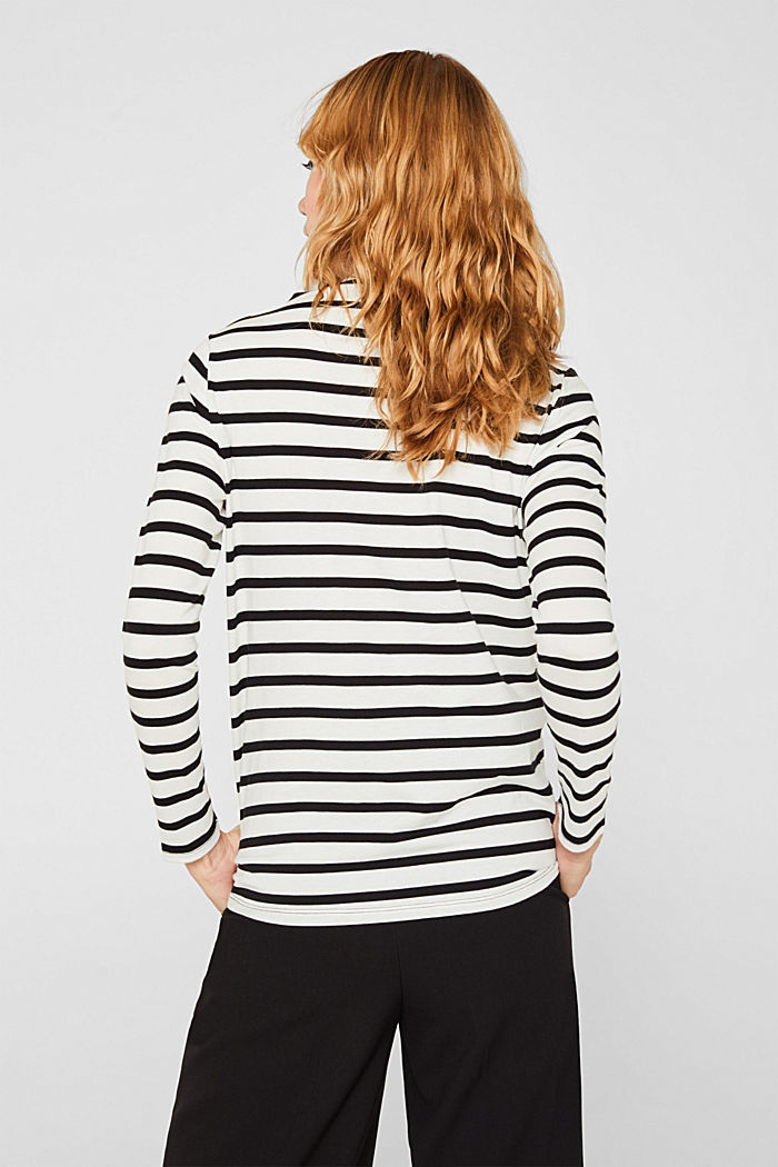 Long sleeve top with a stand-up collar, 100% cotton, OFF WHITE, detail image number 3