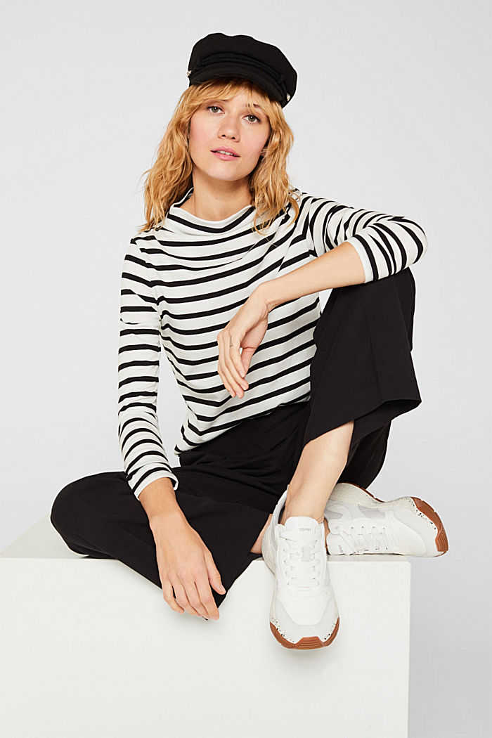 Long sleeve top with a stand-up collar, 100% cotton, OFF WHITE, detail image number 1