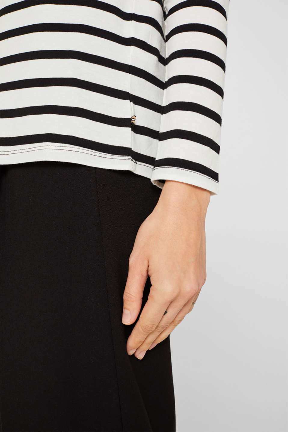 Long sleeve top with a stand-up collar, 100% cotton, OFF WHITE, detail image number 2