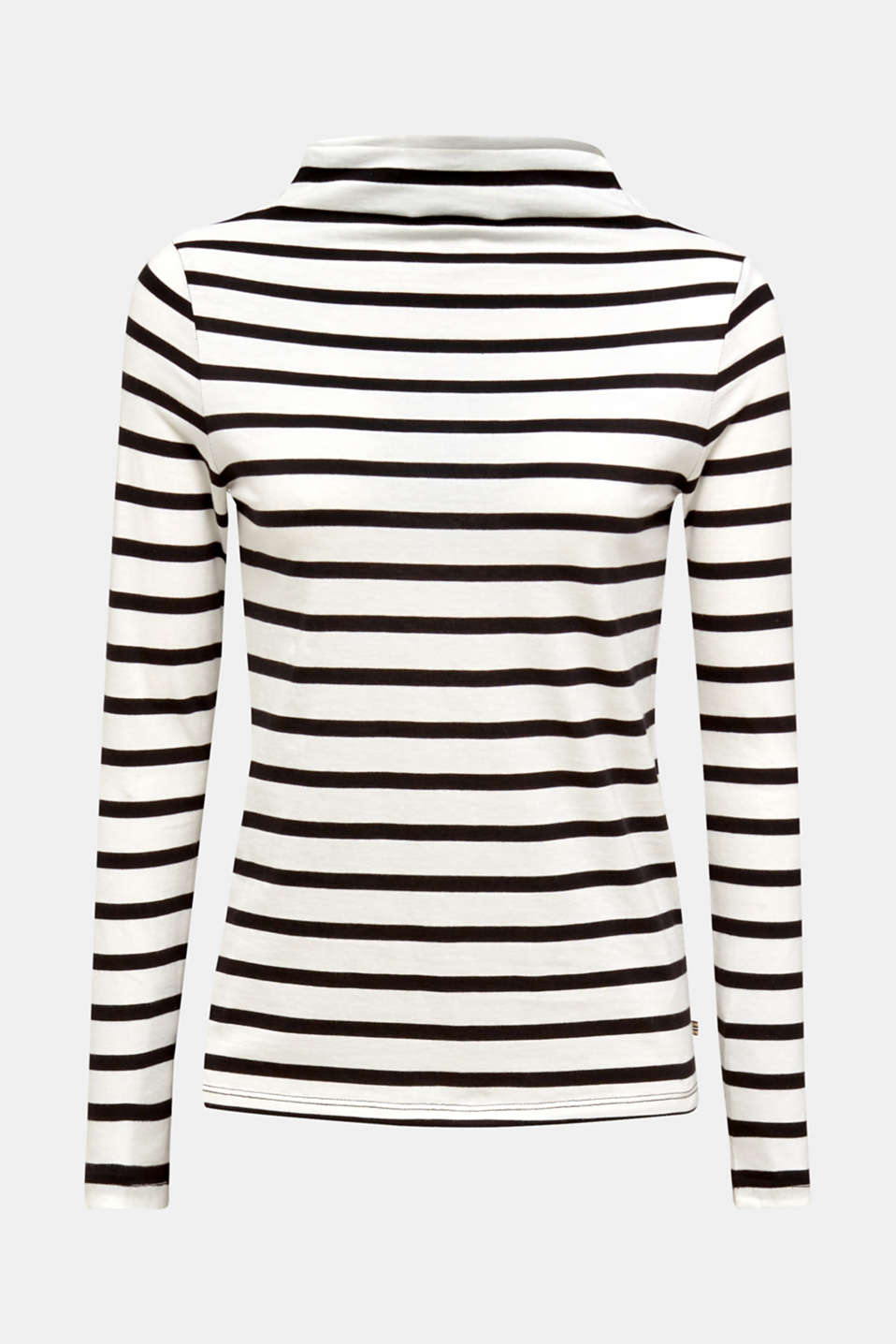 Long sleeve top with a stand-up collar, 100% cotton, OFF WHITE, detail image number 5