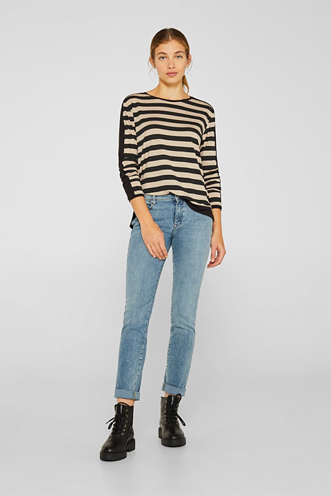 Stretch long sleeve top with stripes