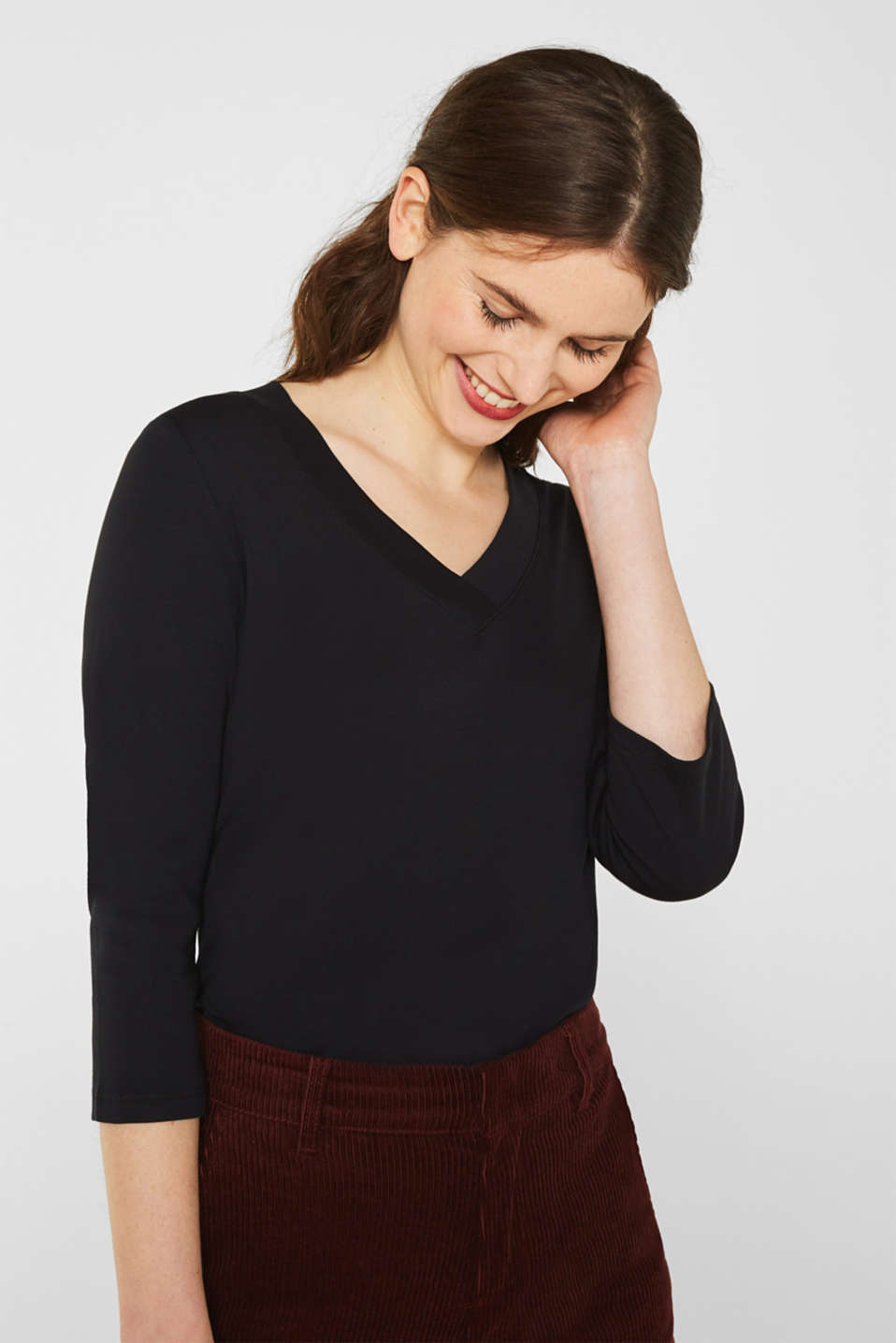 Shirt with a V-neckline, 100% cotton