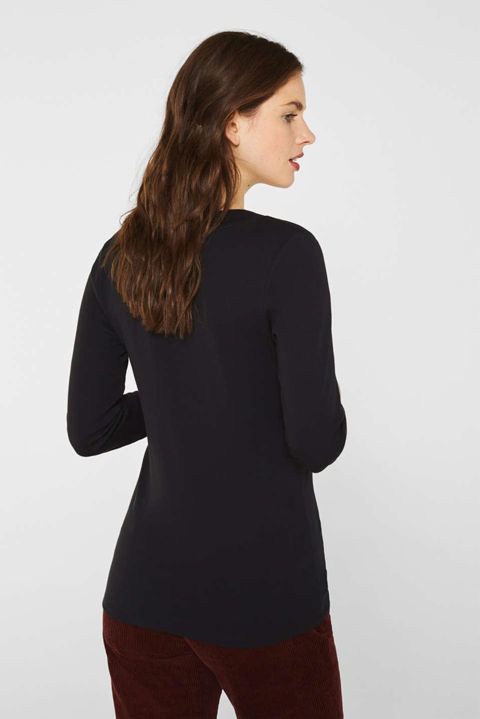 Shirt with a V-neckline, 100% cotton, BLACK, detail image number 3