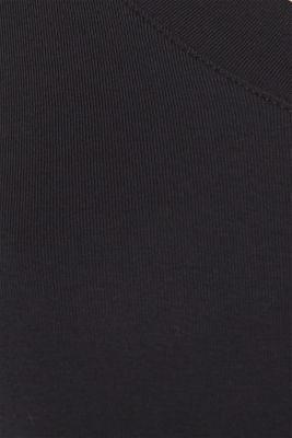 Shirt with a V-neckline, 100% cotton, BLACK, detail