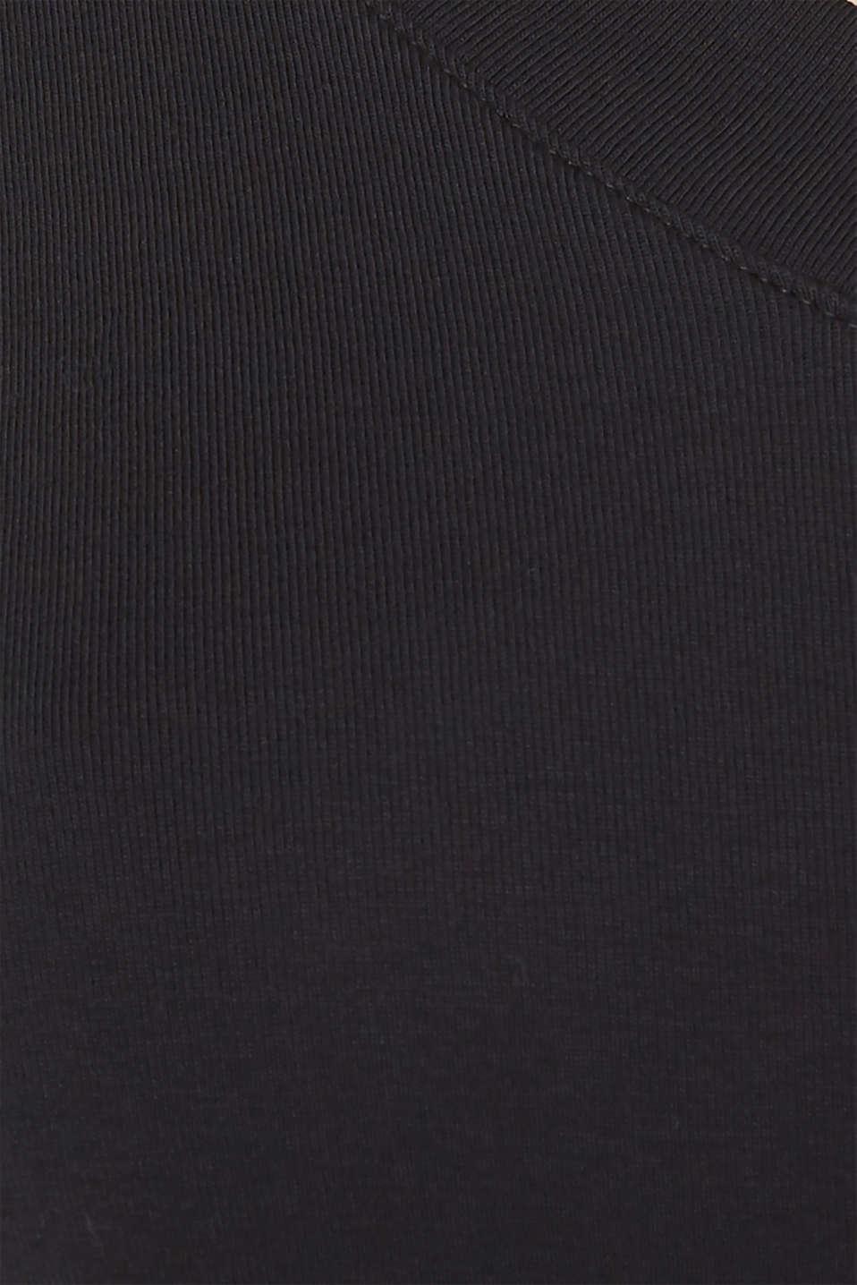 Shirt with a V-neckline, 100% cotton, BLACK, detail image number 4