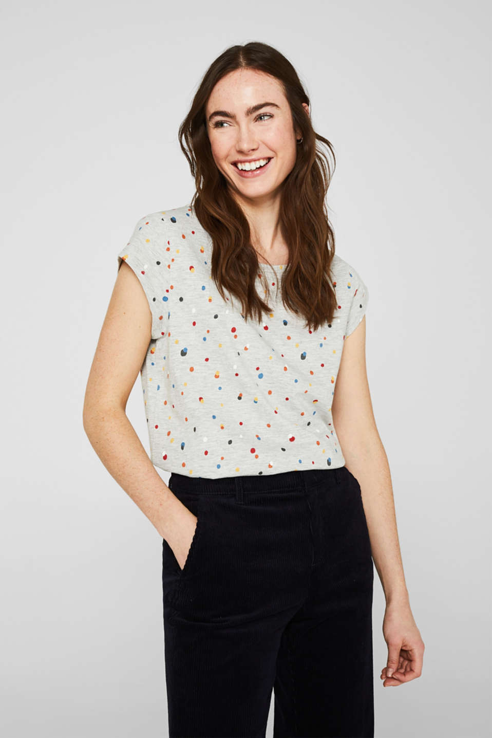 Esprit - Slub top with an all-over print