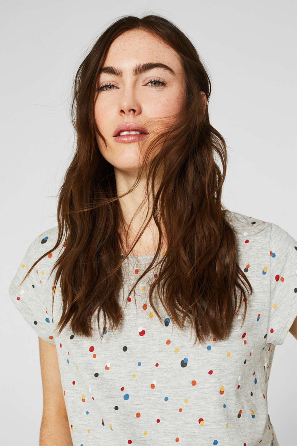 Slub top with an all-over print