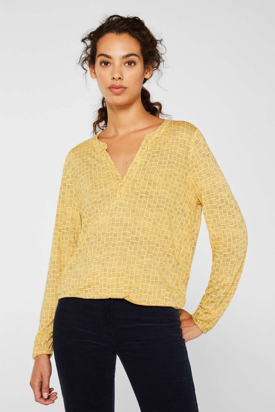 Esprit - Long-sleeve top with elasticated edges