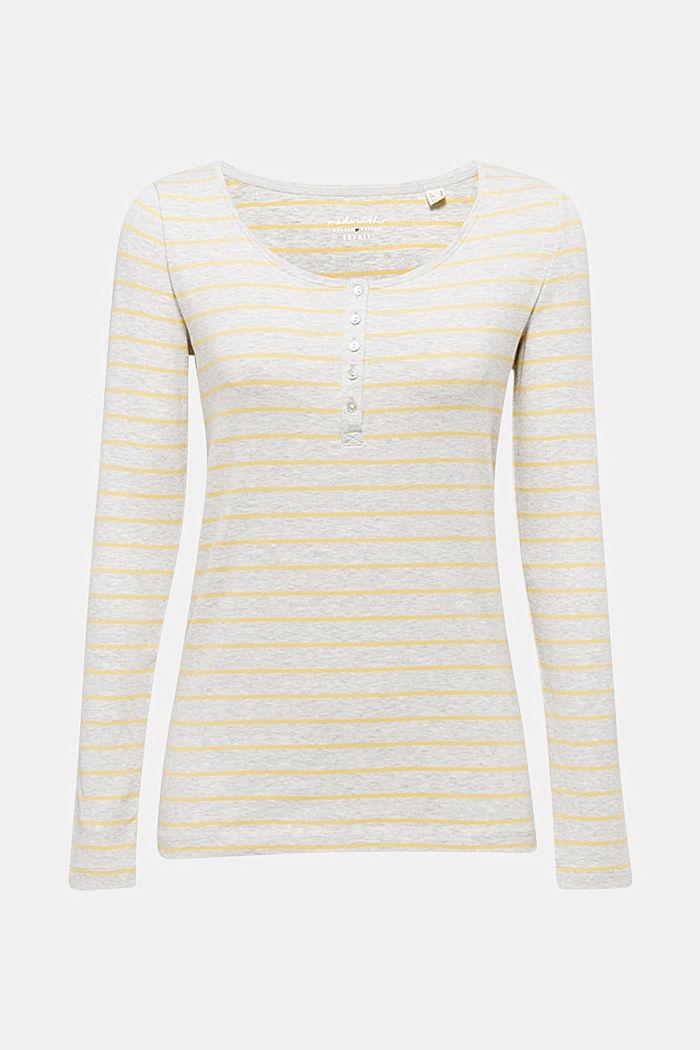 Tričko s dlouhým rukávem a krátkou knoflíkovou lištou, BEIGE, detail image number 0