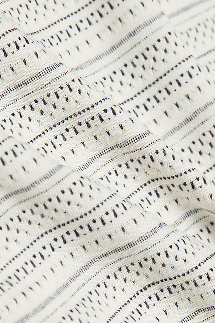 Long sleeve top with texture, 100% cotton, OFF WHITE, detail image number 4