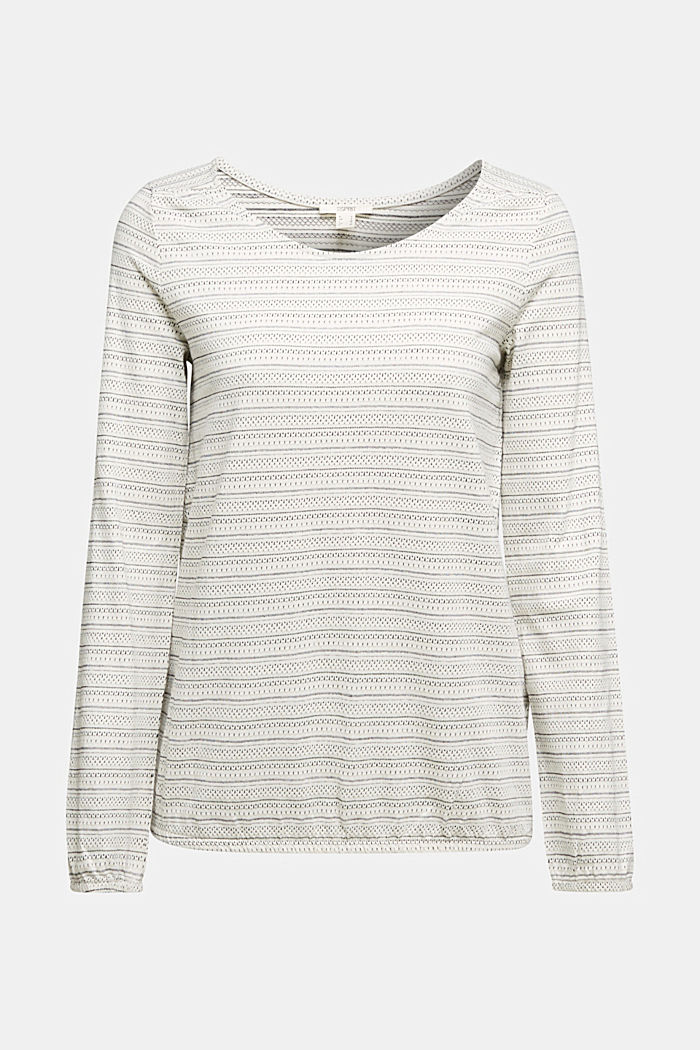 Long sleeve top with texture, 100% cotton, OFF WHITE, detail image number 5
