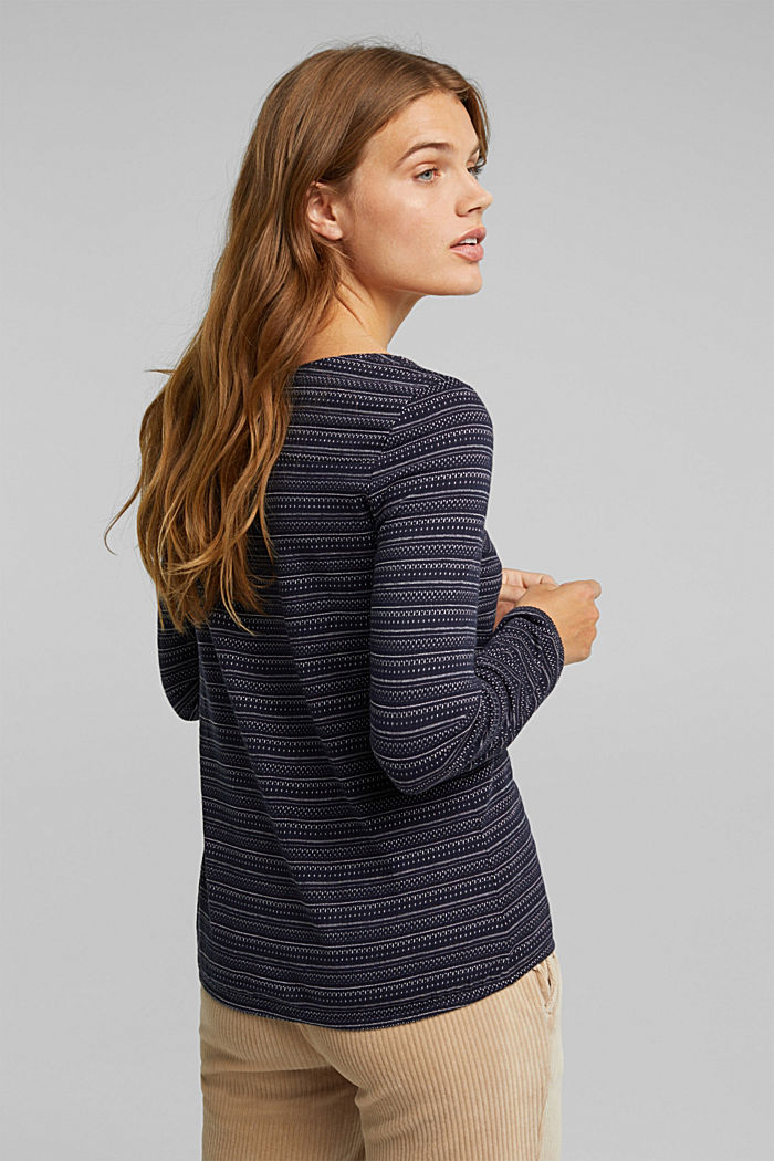 Long sleeve top with texture, 100% cotton, NAVY, detail image number 3