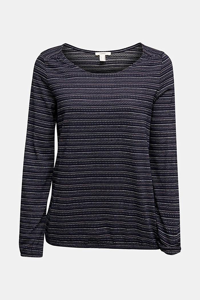 Long sleeve top with texture, 100% cotton, NAVY, detail image number 6