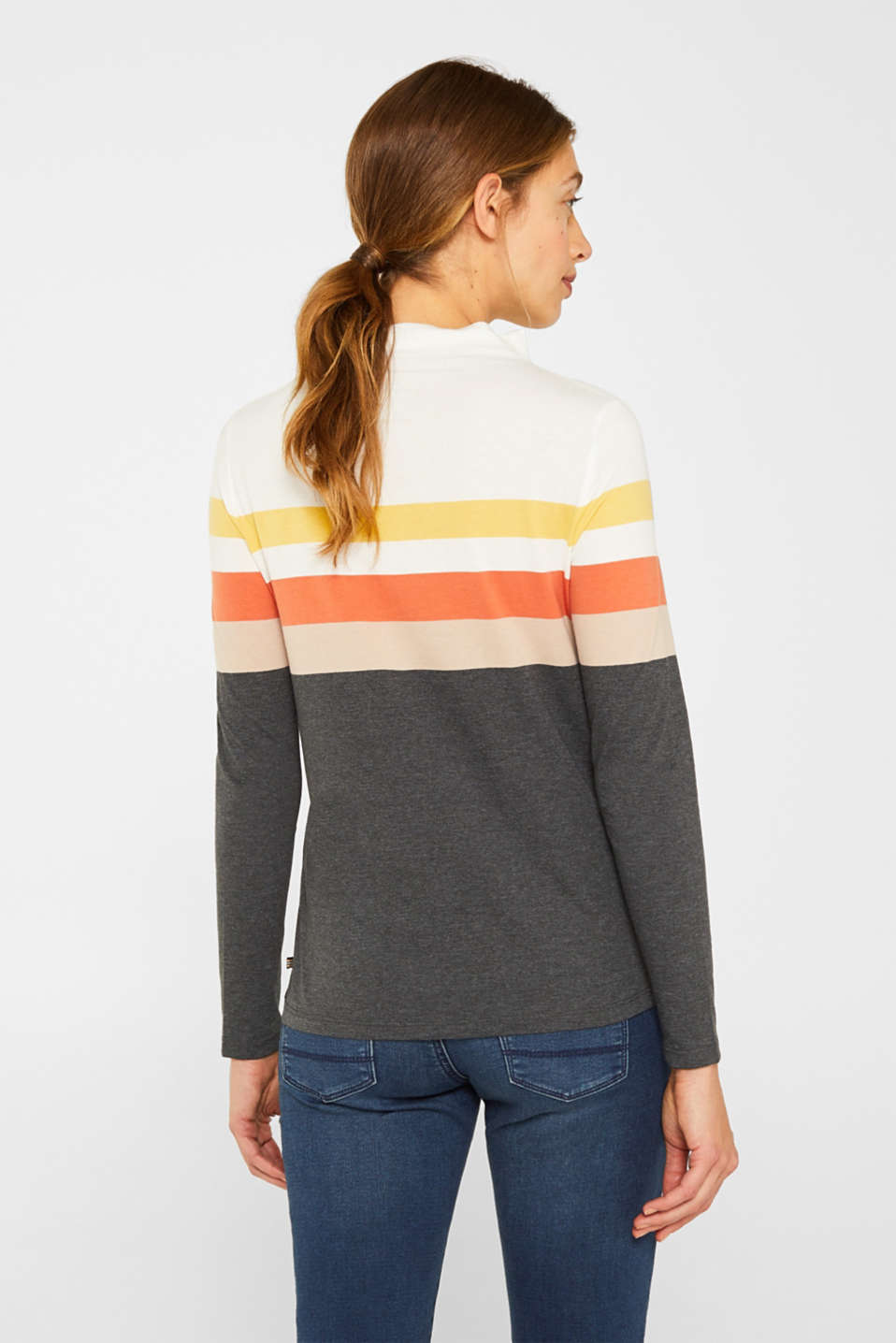 Long sleeve top with a stand-up collar, YELLOW, detail image number 3