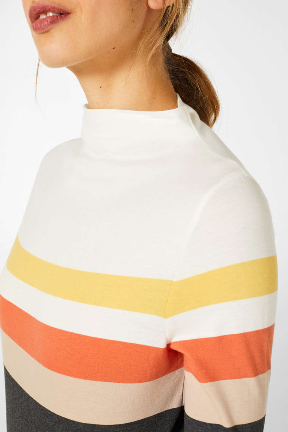 Long sleeve top with a stand-up collar, YELLOW, detail image number 2