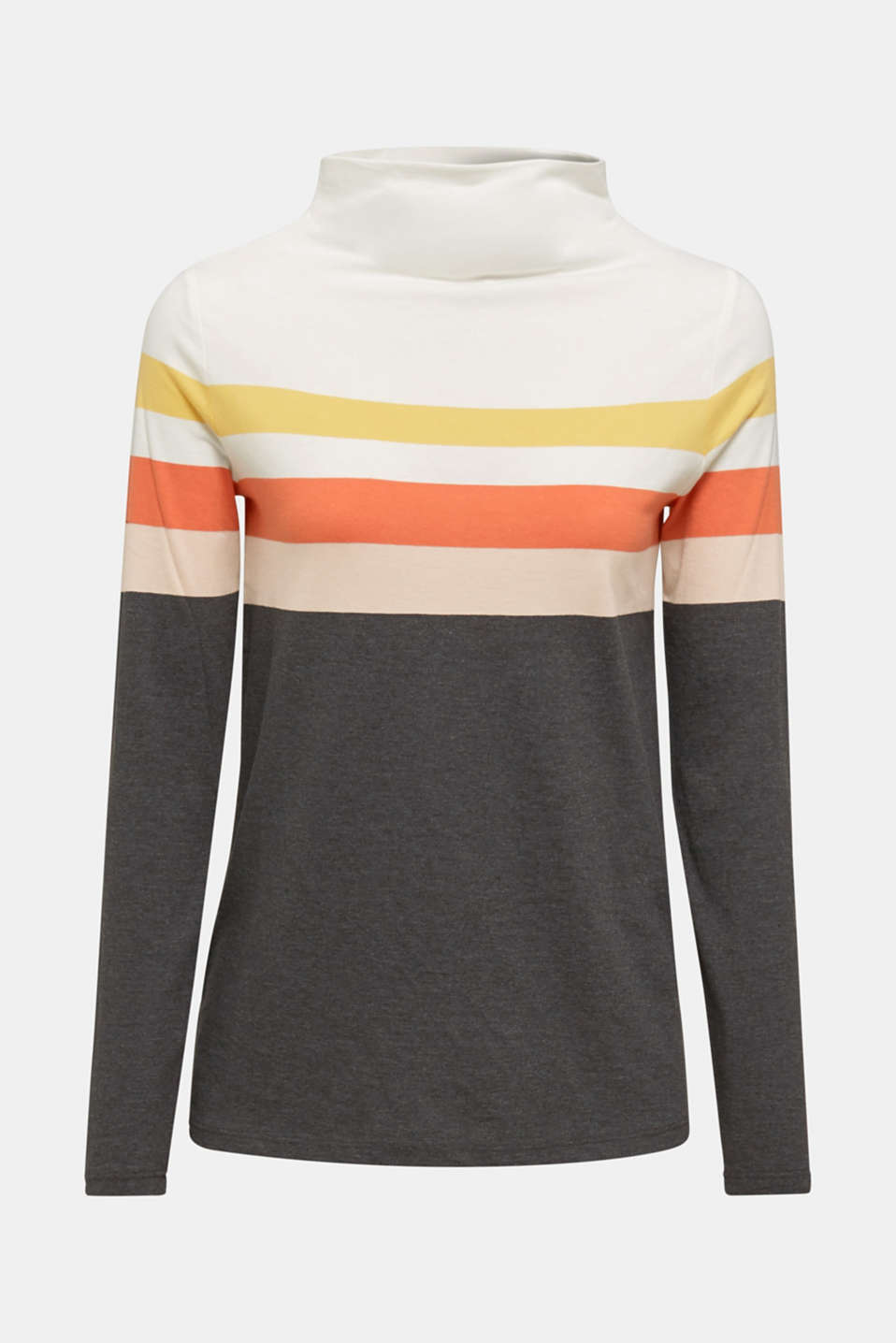 Long sleeve top with a stand-up collar, YELLOW, detail image number 6