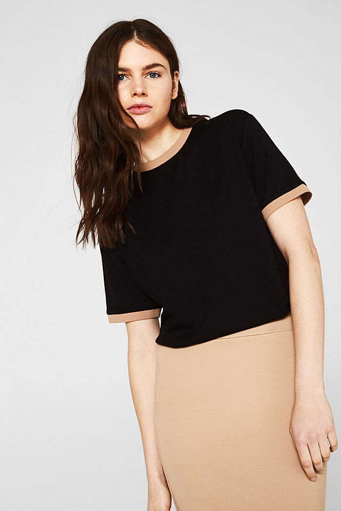 Stretch top with contrasting trims, BLACK, detail image number 0