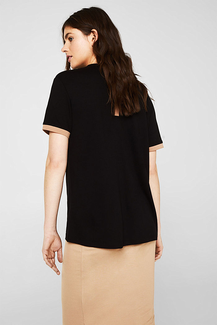 Stretch top with contrasting trims, BLACK, detail image number 2