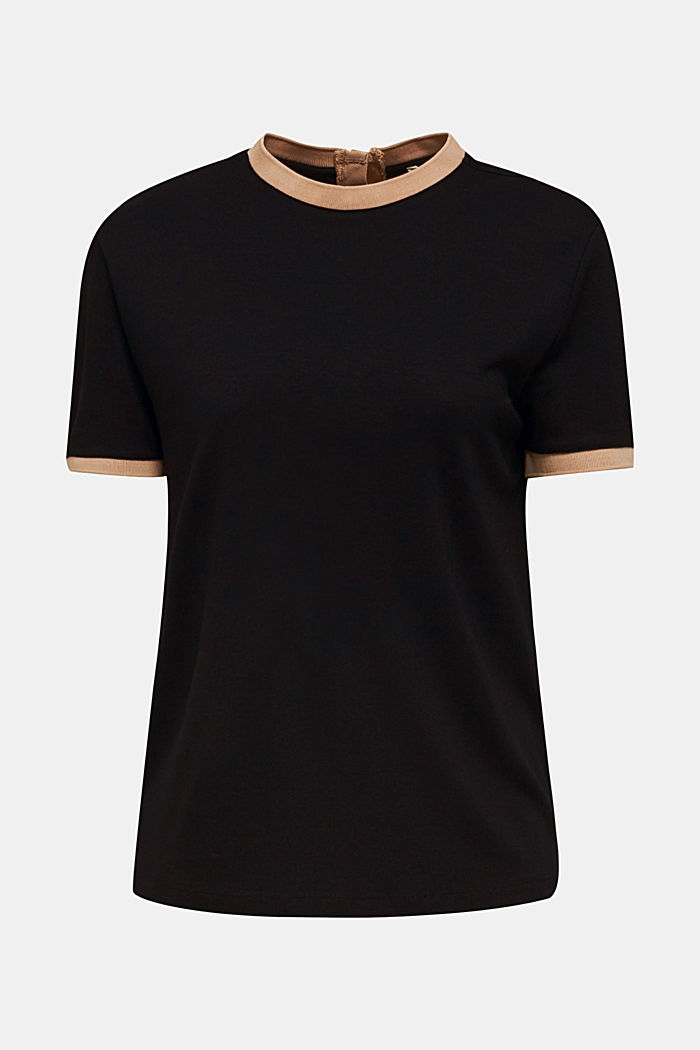 Stretch top with contrasting trims, BLACK, detail image number 5