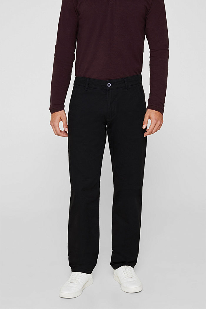 Basic tracksuit bottoms in stretch cotton, BLACK, detail image number 0