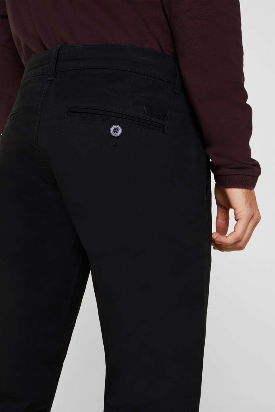 Basic tracksuit bottoms in stretch cotton, BLACK, detail image number 2
