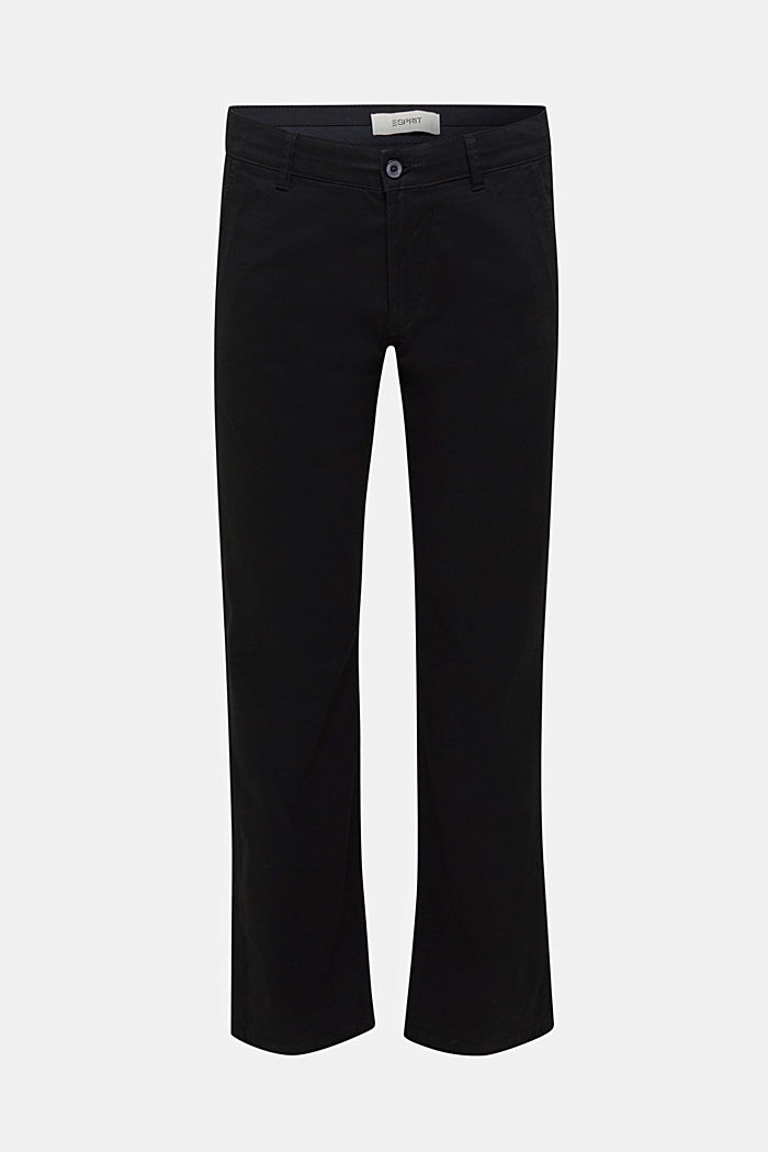 Basic tracksuit bottoms in stretch cotton, BLACK, overview