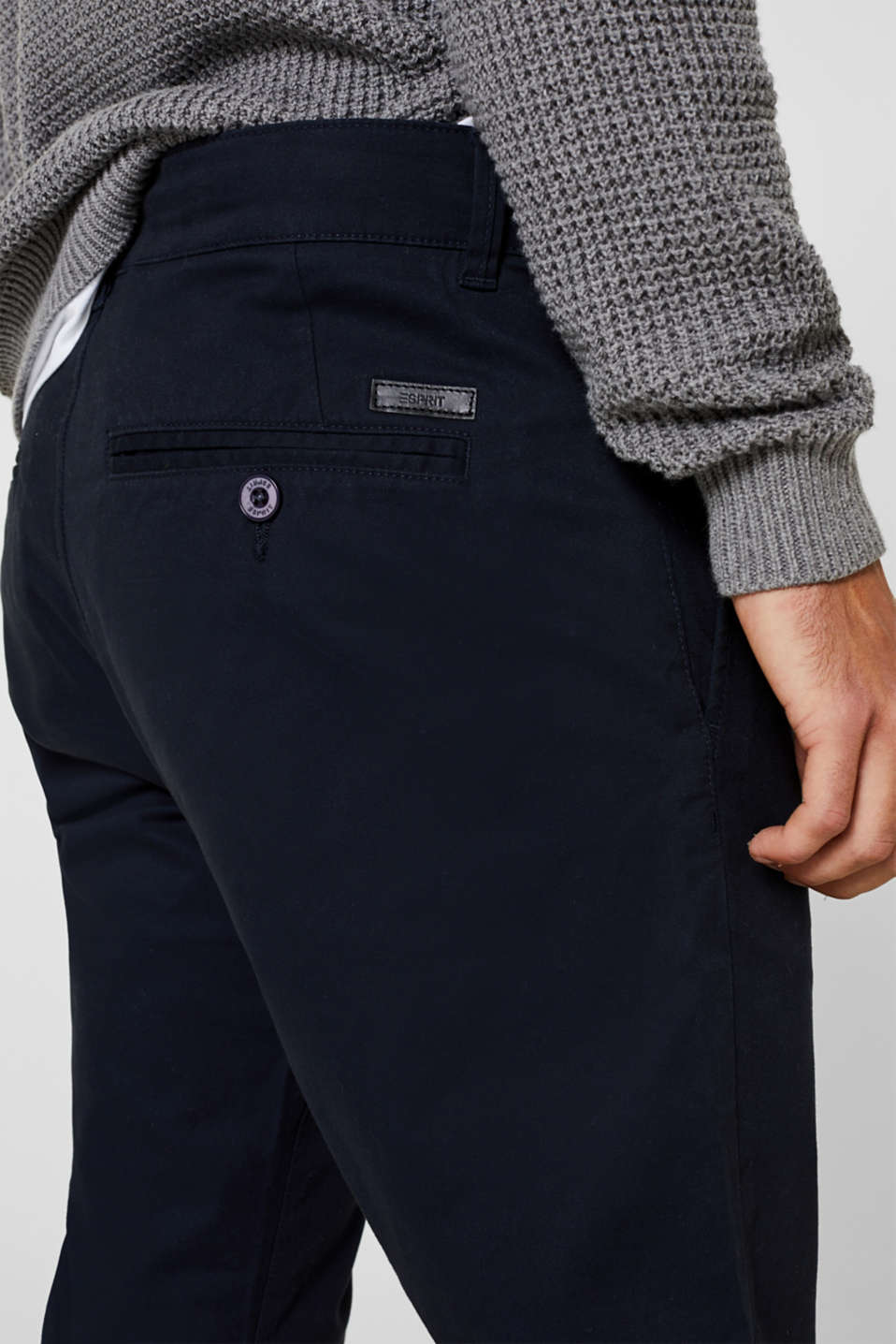 Basic tracksuit bottoms in stretch cotton, NAVY, detail image number 2