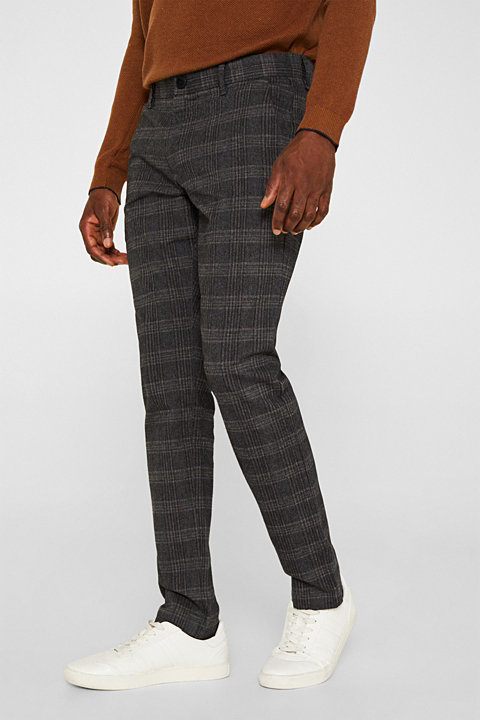 Prince of Wales check trousers made of stretch cotton