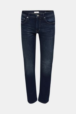 Stretch jeans with washed-out effects, BLUE DARK WASH, detail