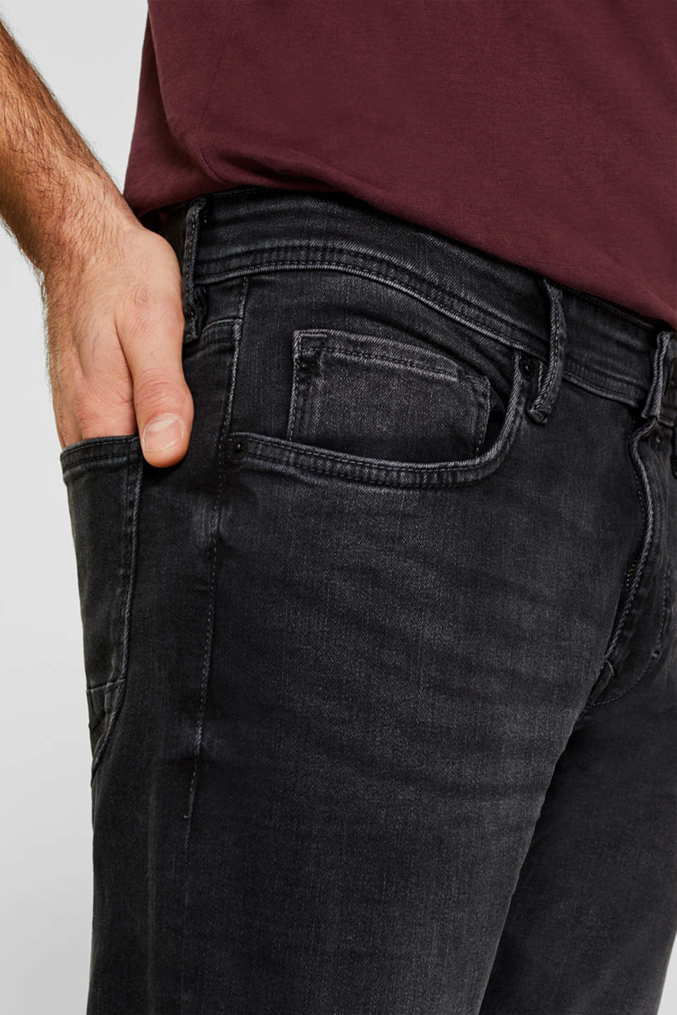 Super stretchy jeans with a washed-out finish, BLACK DARK WASH, detail image number 3